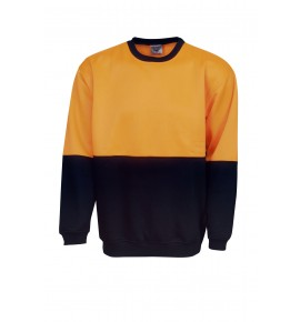Hi Vis Poly / Cotton Fleecy Sweat - Crew Neck