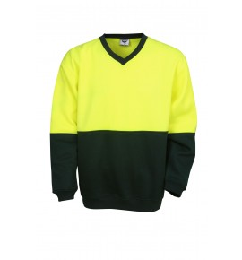 Hi Vis Poly / Cotton Fleecy Sweat - V-Neck