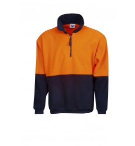Hi Vis Half Zipped Polar Fleece Jumper