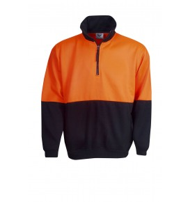 Hi Vis Half Zip Poly / Cotton Fleece Jumper