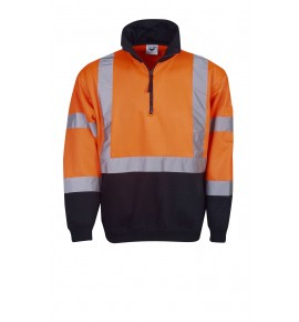 Hi Vis Fleecy Jumper - H Pattern R -Tape - Day / Night Use