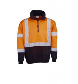 Hi Vis Fleecy Jumper - X Pattern R -Tape - Day / Night Use